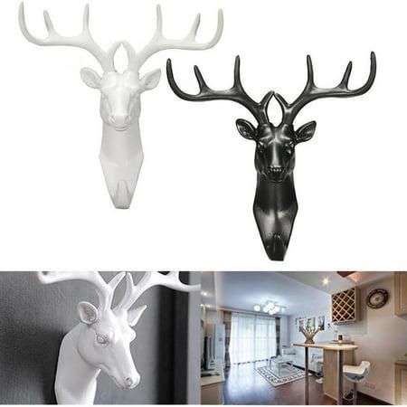 New Animal Deer Stags Head Hook Wall Hanger Rack Holder Resin Home Dec