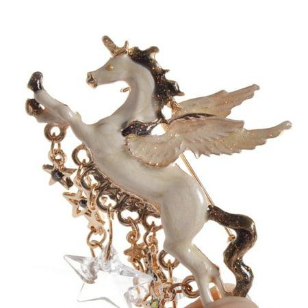 Unicorn Pegasus Brooch Pen Dangle Crystals Stars Jewelry-BROOCH-30 (Crystal Pegasus)