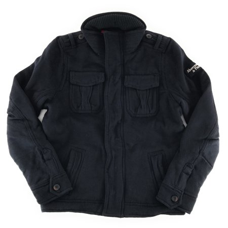 Navy Wool Jacket (Abercrombie & Fitch Mens Wool Military Jacket X-Large Navy)