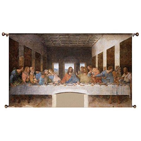 The Original Last Supper by Leonardo da Vinci Picture on Large Canvas Hung on Copper Rod, Ready to Hang, Wall Art (The Last Supper Leonardo Da Vinci Original)