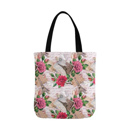 HATIART Vintage France Paris Eiffel Tower with Rose Flowers on Postal Stamps Canvas Tote Bags Reusable Shopping Bags Grocery Bags Washable Bags for Women Men Kids - image 1 de 3
