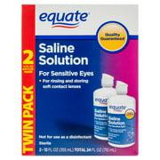 Equate Saline Solution for Sensitive Eyes, 12 oz, 2 Pk