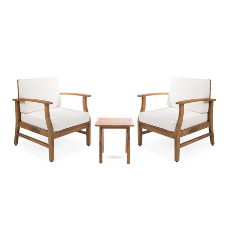 Pearl Outdoor 2 Seater Acacia Wood Chat Set with Cushions, Teak and Cream ()