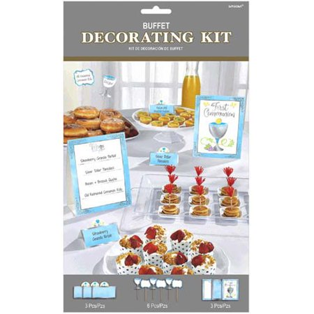 Religious 'First Communion' Blue Buffet Decorating Kit (12pc) - Communion Kits