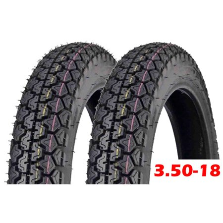 SET OF TWO: Tire 3.50 - 18 Motorcycle Scooter Moped Street Front/Rear