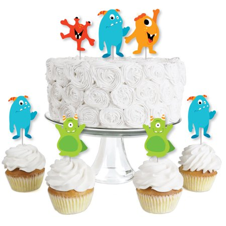 Halloween Party Desserts Treats (Monster Bash - Dessert Cupcake Toppers - Little Monster Birthday Party or Baby Shower Clear Treat Picks - Set of)