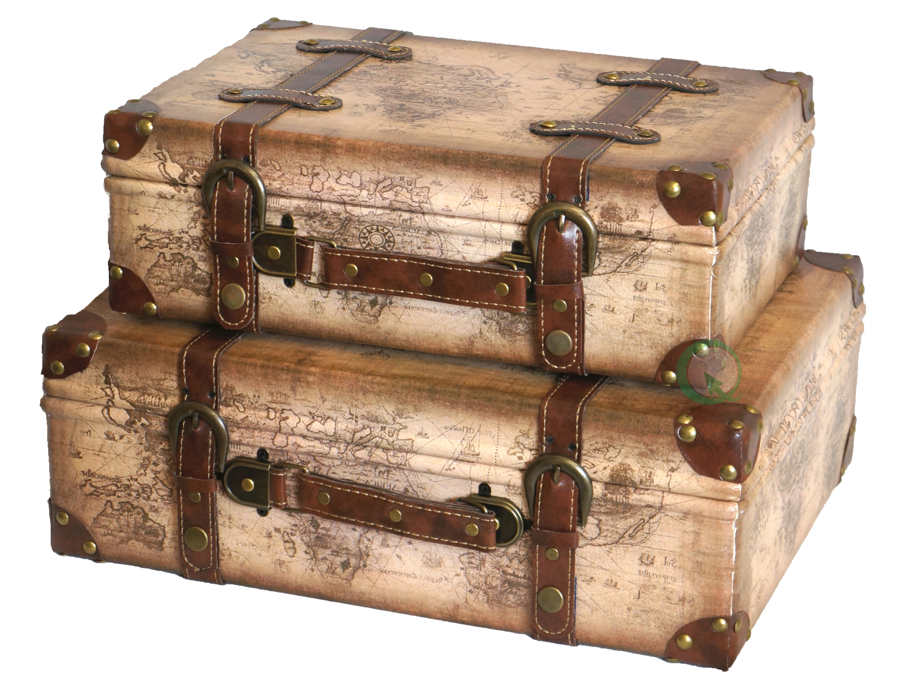 trunks suitcases old trunk for world decorative map suitcase less pin decor vintage