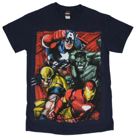 Marvel Comics Mens T-Shirt -  Fearsome Foursome Wolvy Hulk Cap & Iron Man Attack (XX-Large)