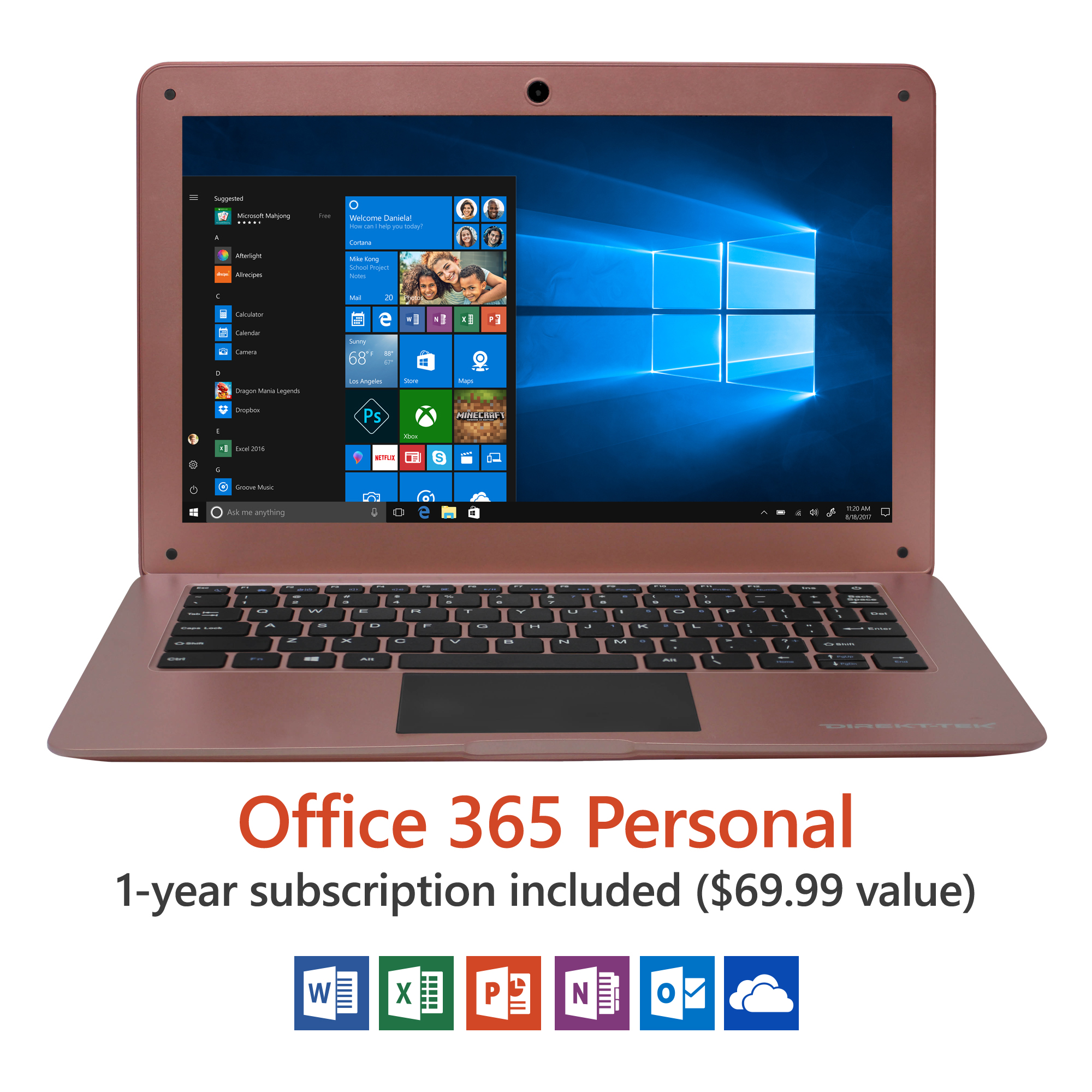 "14"" Ultra Slim Laptop, Windows 10 Home, Office 365 Personal 1-Year Subscription Included ($69.99 Value),... by Direkt-Tek"