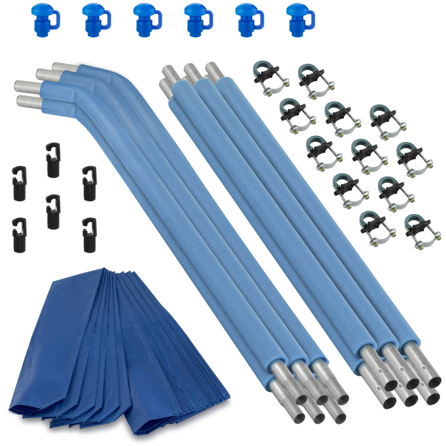 Trampoline Replacement Enclosure Poles & Hardware, Designed For Top Ring Enclosure System, Set of 6 (Net Sold Separately)
