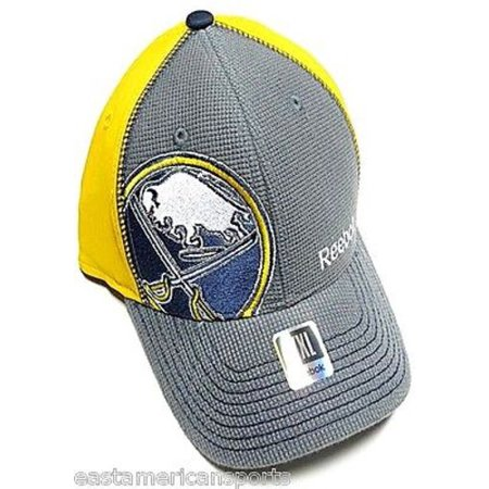 Buffalo Sabres NHL Reebok Center Ice Hat Cap Gray / Yellow Flex Fitted L/XL Fit