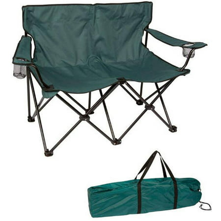 Loveseat Style Double Camp Chair with Steel Frame by Trademark Innovations (Dark Green, 31.5