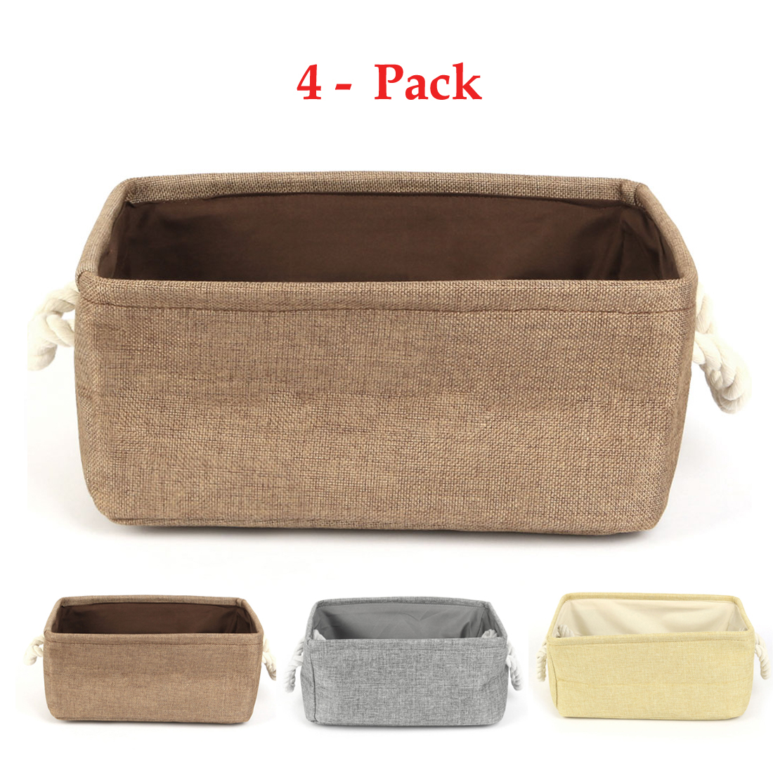 Home Fabric Collapsible Storage Baskets Bin Toy Organizer ,4 Pack