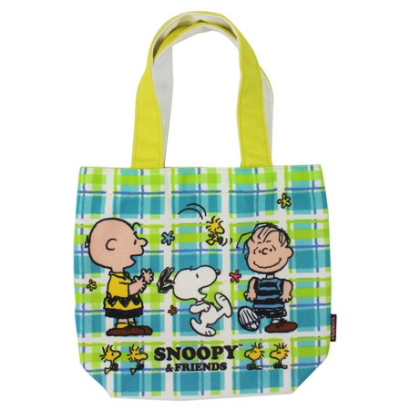 Snoopy Charlie Brown and Linus Dancing Blue and Green Mini Tote Bag
