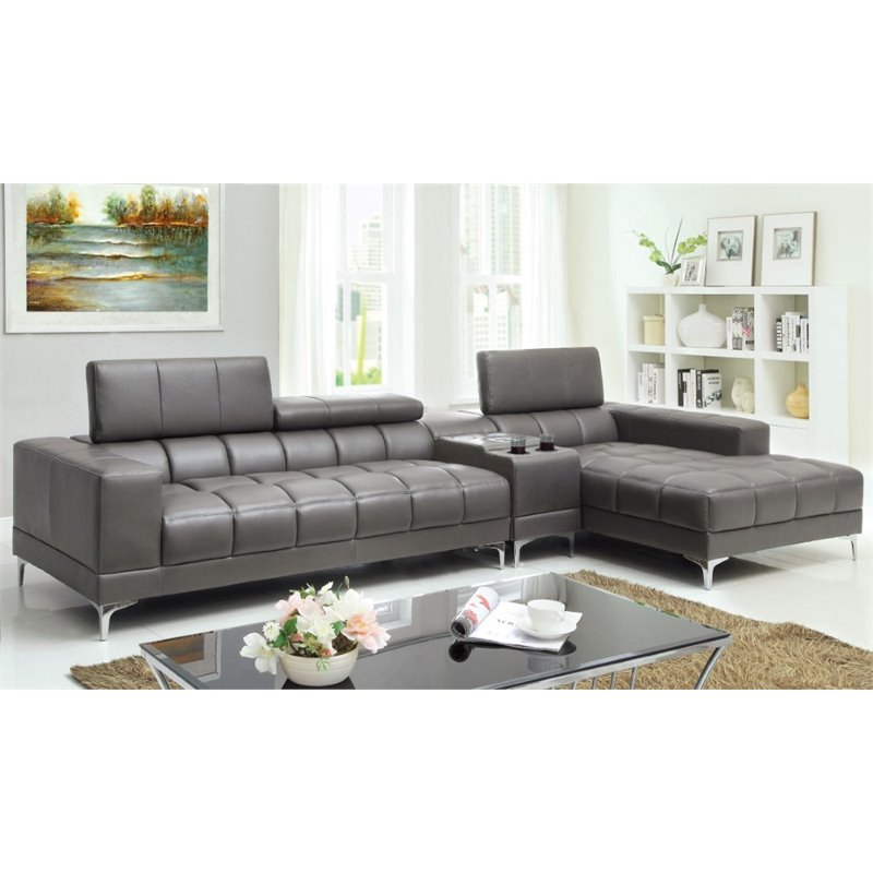Furniture of America Cruze Leather Sectional with Console in Gray