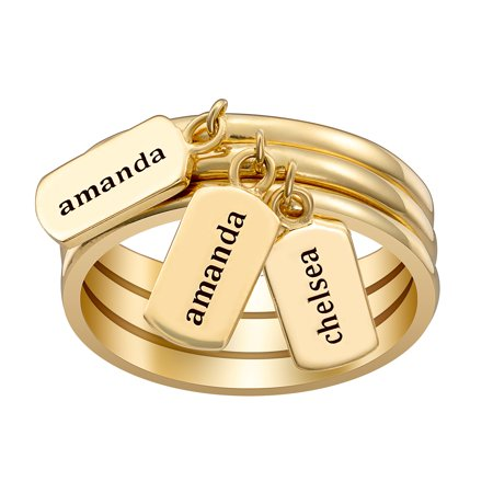Personalized Women's Gold or Rhodium Plated Stackable Engraved Names Tag Ring - 2-3
