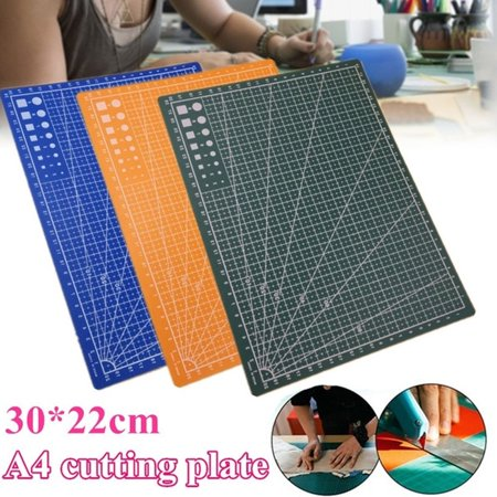 Double-Sided Self Healing Rotary Cutting Mat Non-Slip PVC for Hobby Fabric Cutter Craft Knife Set, 12 x 8 Inches,Green/Blue/Orange