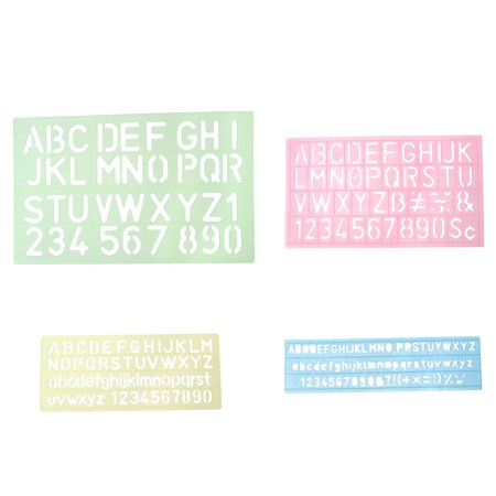 Alphabet Letter Number Stencil Template 4 Pcs Set Assorted Colors and Sizes (Number 4 Stencil)
