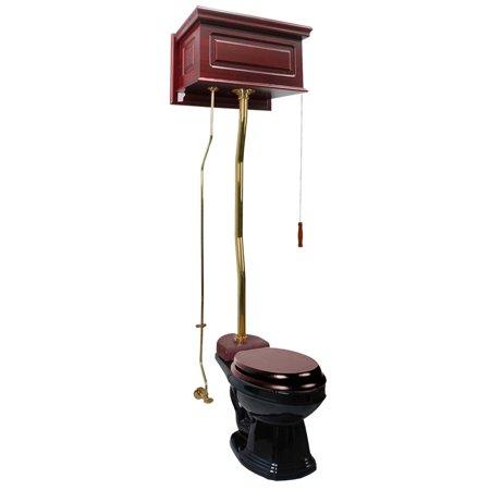 Cherry High Tank Z-Pipe Toilet Elongated Black Bowl | Renovators Supply
