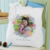 Personalized Floral Photo Tote