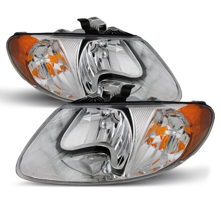 Fit 01-07 Caravan Town & Country Chrome Clear Headlights Front Lamps Replacement