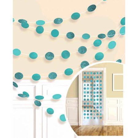 Robin's Egg Blue Glitter Dot Garland (6pc)
