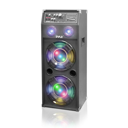 Pyle PSUFM1045A - 1000 Watt Disco Jam 2-Way Powered Speaker System with Flashing DJ Lights, USB/SD Card Readers, FM Radio, 3.5mm AUX Input, USB Charge Port & Graphic