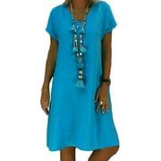 Womens Ladies Summer Short Sleeve Dresses Long T-Shirt Casual Dress Plus Size