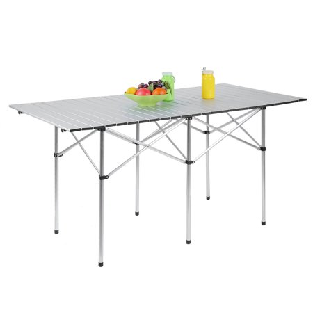 140x70cm Portable Aluminum Folding Table Lightweight Outdoor Roll Up Camping Picnic With Storage Bag