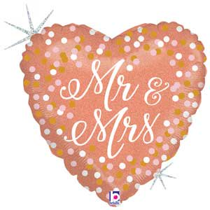 Rose Gold Mr. & Mrs. Mylar Balloon