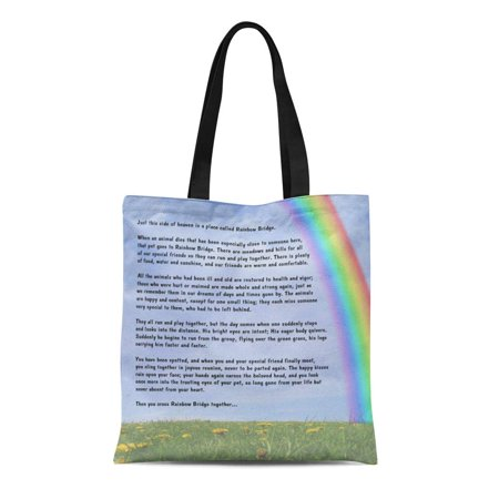 - ASHLEIGH Canvas Tote Bag Ainbow Rainbow Bridge Pet Loss Cat Dog Text Reusable Handbag Shoulder Grocery Shopping Bags
