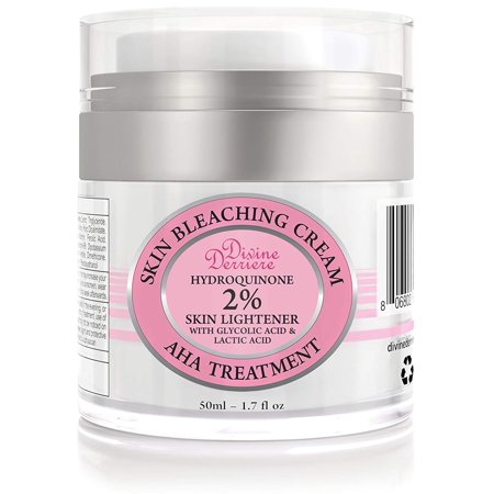 Divine Derriere Skin Lightening 2% Hydroquinone Bleaching Cream with 6% AHA Glycolic Acid and Lactic Acid - Fade Dark Spots, Freckles, Hyperpigmentation, Melasma and Discolorations. 1.7 (Best Over The Counter Cream For Melasma)