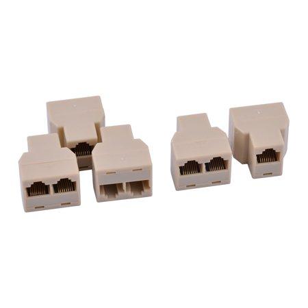 5 Pcs RJ45 8 Pins 1 Female to 2 Female Telephone Splitter Connector Adapter