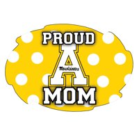 "Appalachian State Mountaineers NCAA Collegiate Trendy Polka Dot Proud Mom 5"" x 6"" Swirl Decal Sticker"