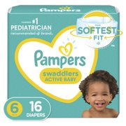 Pampers Swaddlers Diapers, Soft and Absorbent, Size 6, 16 Ct