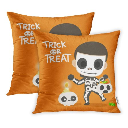 ARHOME Orange Graphic Skeleton Ghost Kid in Dress Halloween Party Trick Treat Candle Pillowcase Cushion Cover 20x20 inch, Set of 2](Halloween Treats Part 2)