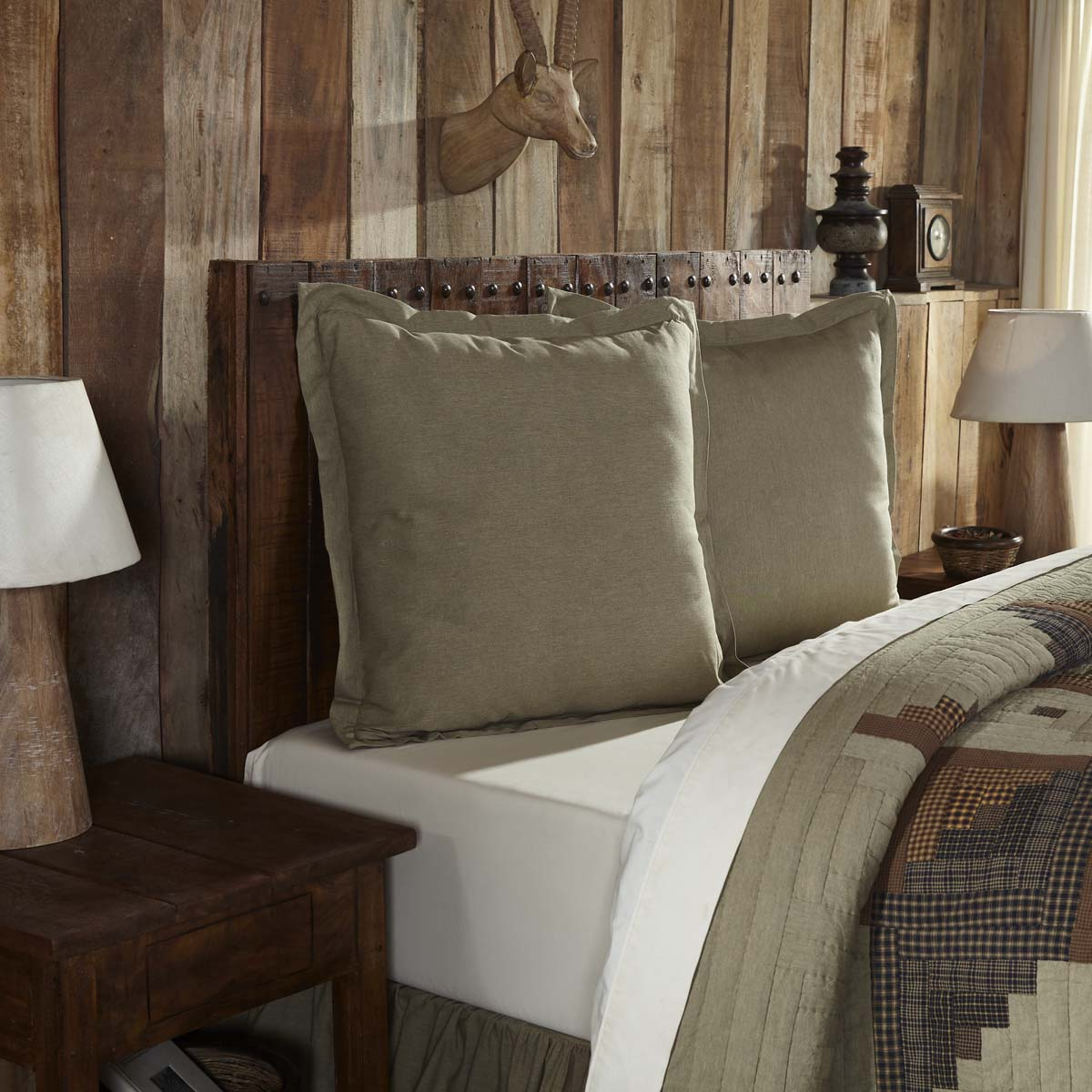 Khaki Green Tan Rustic & Lodge Bedding Novak Cotton Chambray Solid Color Euro Sham