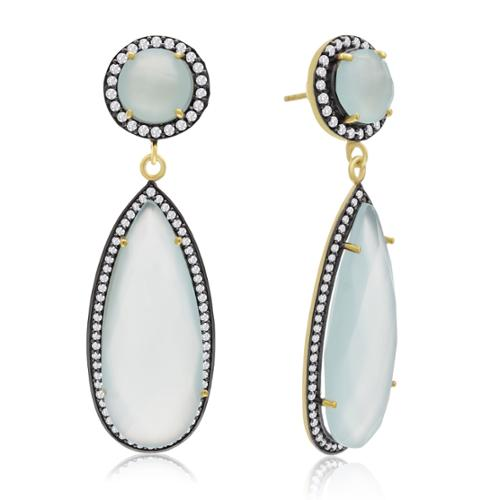 14k Yellow Gold Over Sterling Silver 64ct Pear Shape Green Chalcedony and Cubic Zirconia Halo Dangle Earrings