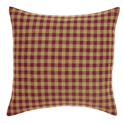 Burgundy Check Fabric Pillow Cover 16x16