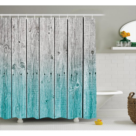 Rustic Shower Curtain, Wood Panels Background with Digital Tones ...