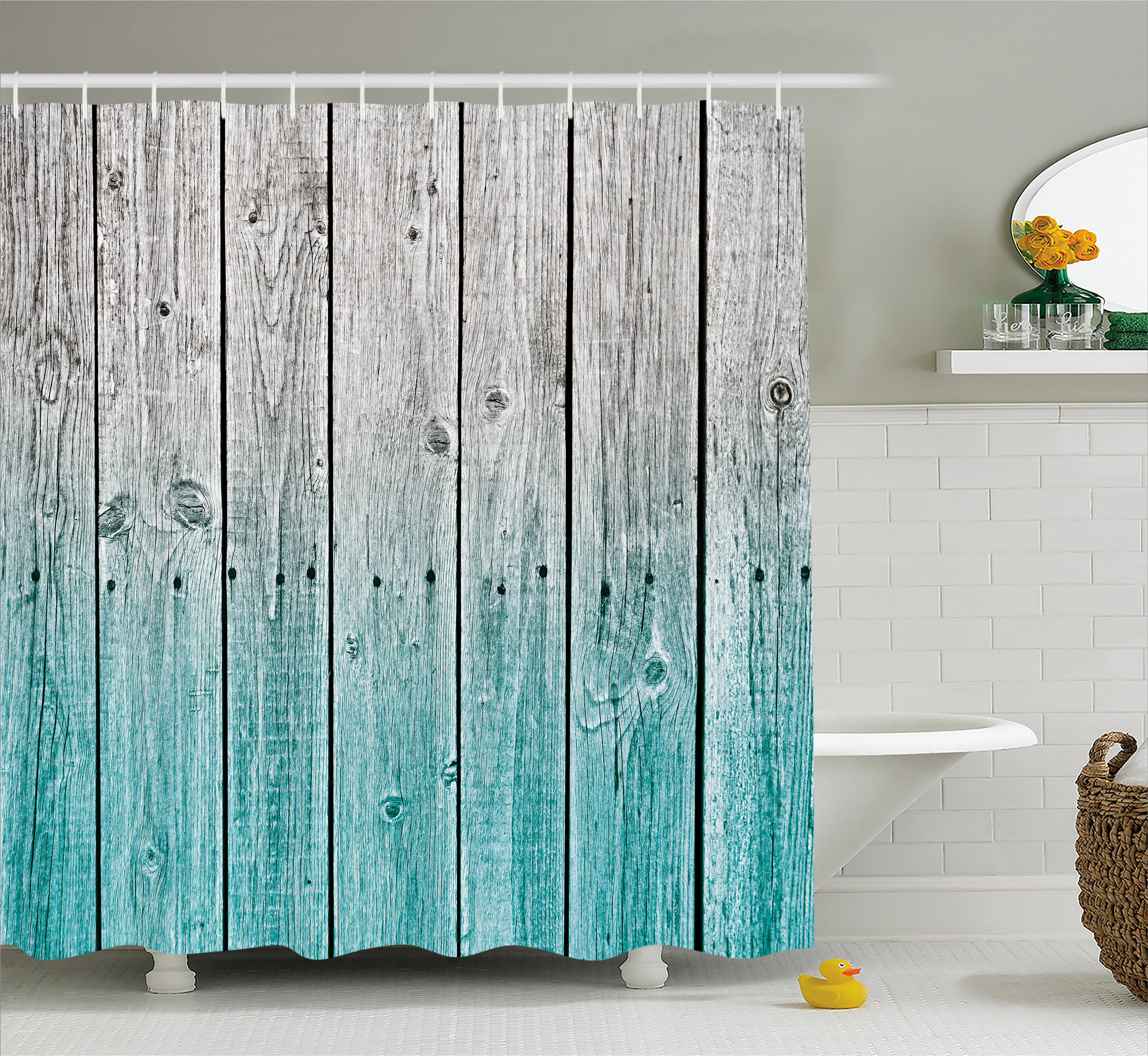 Rustic Shower Curtain, Wood Panels Background With Digital Tones Effect  Country House Image, Fabric