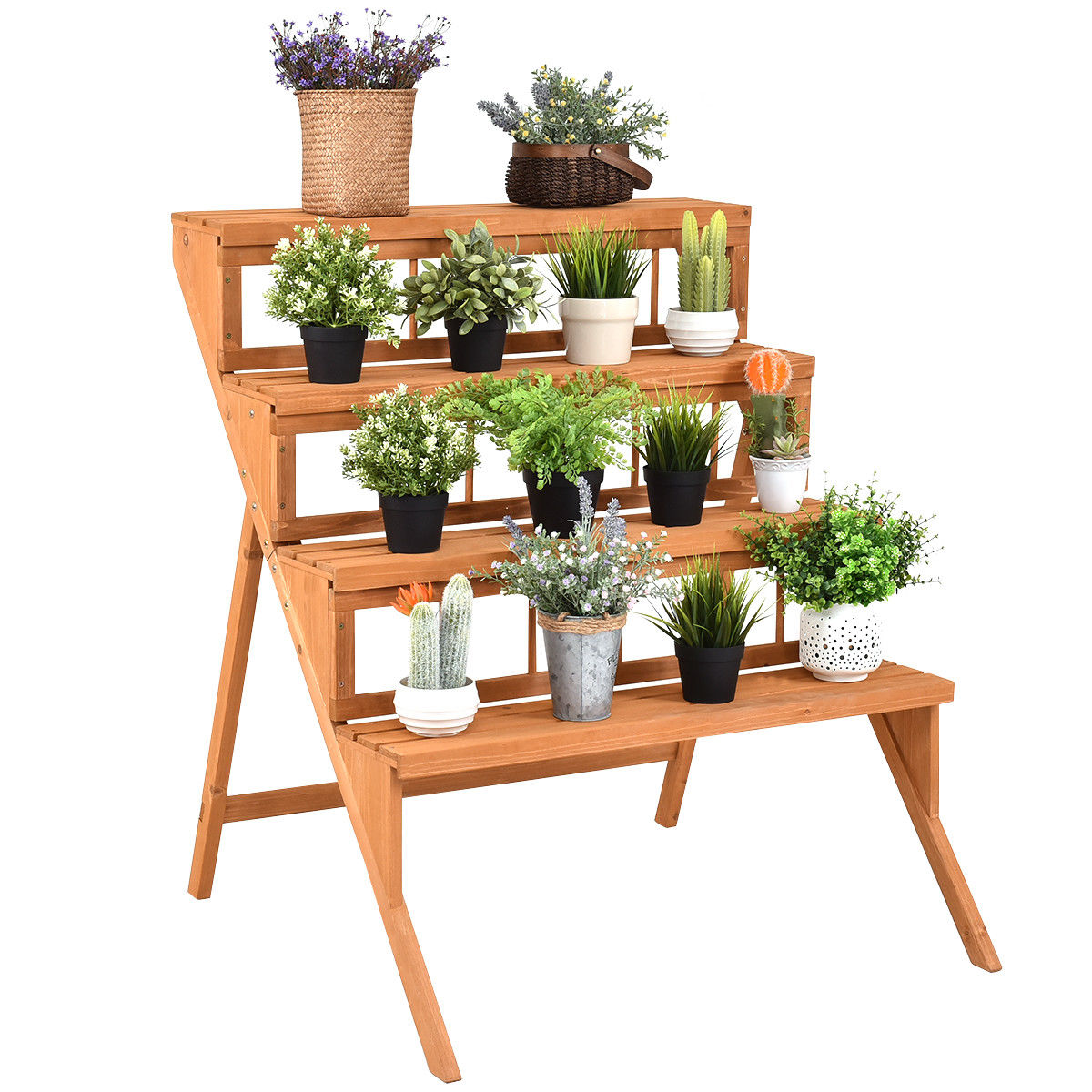 Costway 4 Tier Wood Plant Stand Flower Pot Holder Display Shelves Rack Stand Ladder Step