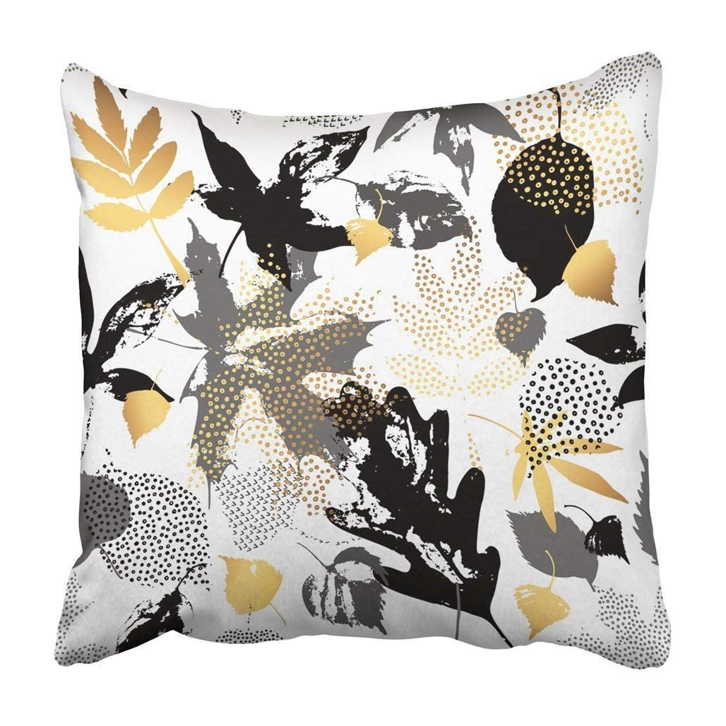 BPBOP Autumn Leaves Leaf Silhouettes With Doodle Scribble Natural In Golden Monochrome Colors Pillowcase 16x16 inch