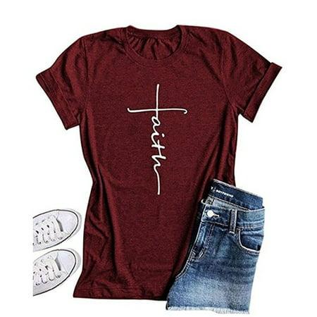 Women Cross Faith T Shirt Graphic Tees