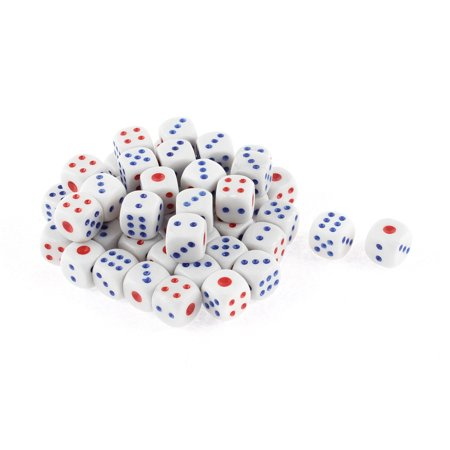 50 Pcs White Blue Red Plastic Shaking Lucky Game Bar Casino Props Dices for $<!---->