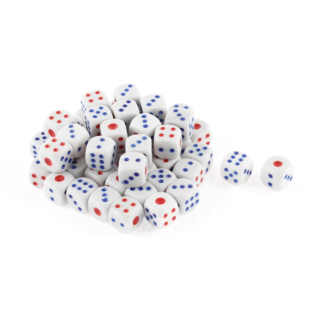 50 Pcs White Blue Red Plastic Shaking Lucky Game Bar Casino Props Dices