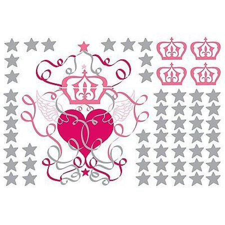 ANGEL WINGS Wall Decals Silver Stars Hearts Princess Crowns Room ...
