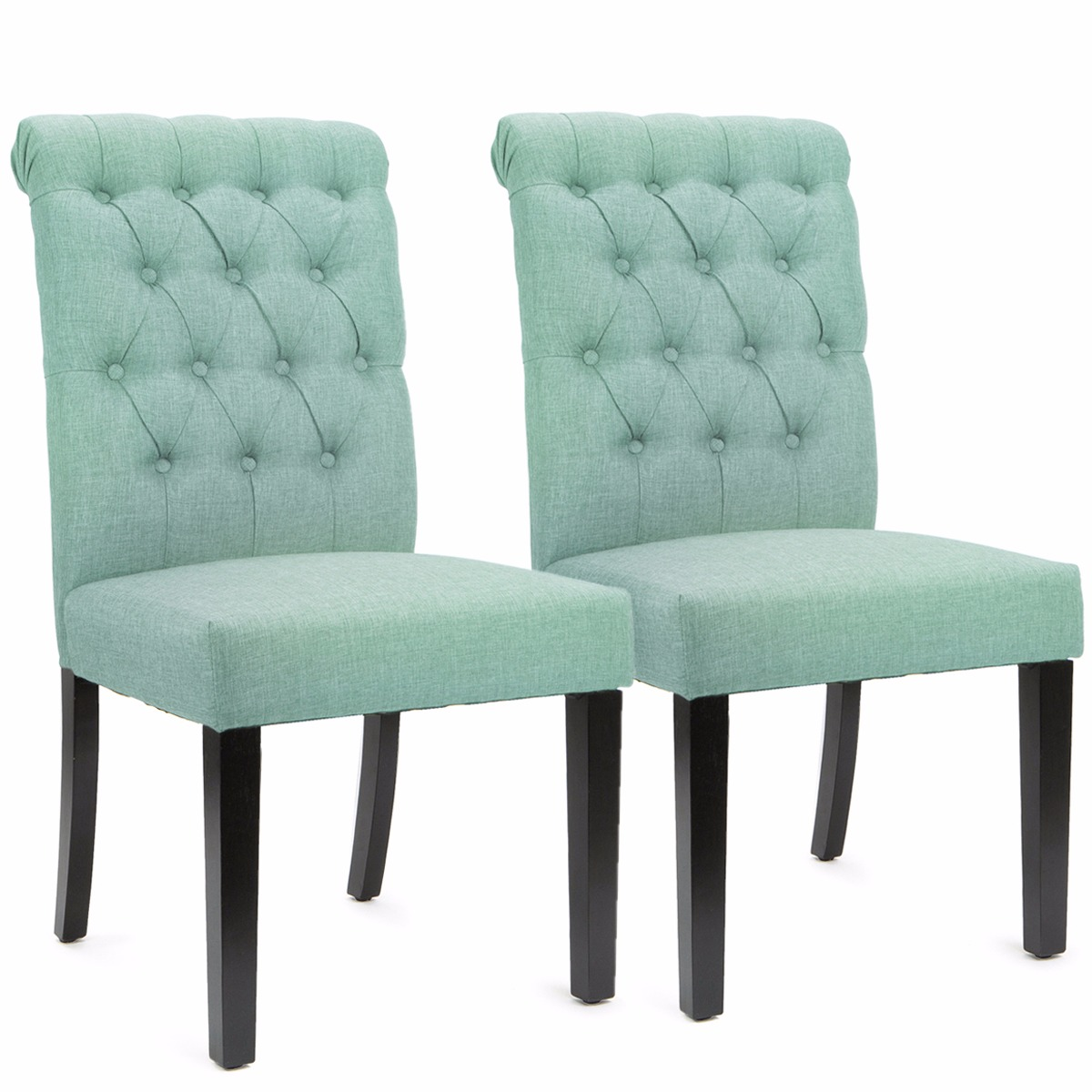 Sef of 2 Elegant Tufted Padded Victorian Dining Chair Set, Sea Mist
