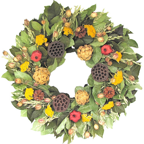 Dried Flowers and Wreaths LLC 22'' Artichoke and Lotus Wreath