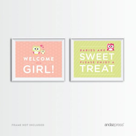 Owls For Baby Shower (Welcome | Enjoy A Treat  Modern Owl Girl Baby Shower Party Signs, 2−Pack,)